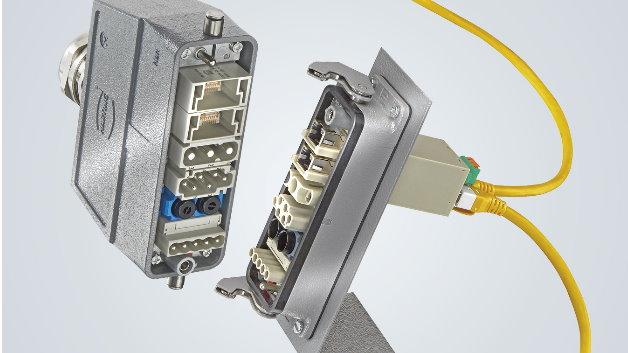 Harting erweitert kontinuierlich sein modulares Rechteck-Steckverbinder-Programm  - mit aktuellem Fokus auf die Datenkommunikation. Neu ist der »Han-Modular Switch US4«, der über vier Ethernet-Ports verfügt und den Datenaustausch über die Protokolle Ethernet/IP und Profinet ermöglicht.