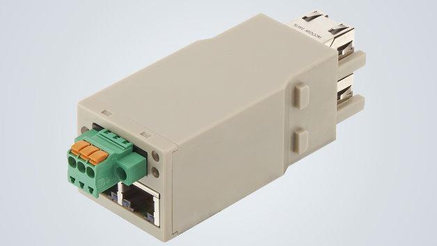 Der Switch spart Platz, weil er sich ohne zusätzliche Maßnahmen in den Han-Modular-Gelenkrahmen integrieren lässt.  Das neue Modul passt dadurch besonders gut zu Applikationen, in denen der Han-Modular bereits zur Versorgung von Maschinenelementen mit Leistung und Signalen eingesetzt wird.