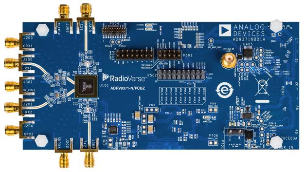 Das evaluation board für den AD9371 von ADI verfügt über Schnittstellen zu FPGA-Entwicklungsboards.