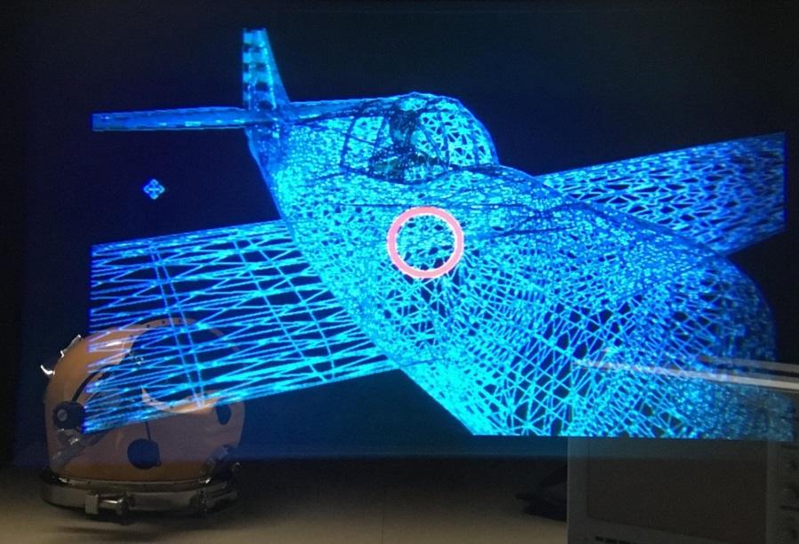 Noch eine Laborsimulation: Ein Flugzeug, gesehen durch das Divers Augmented Vision Display.