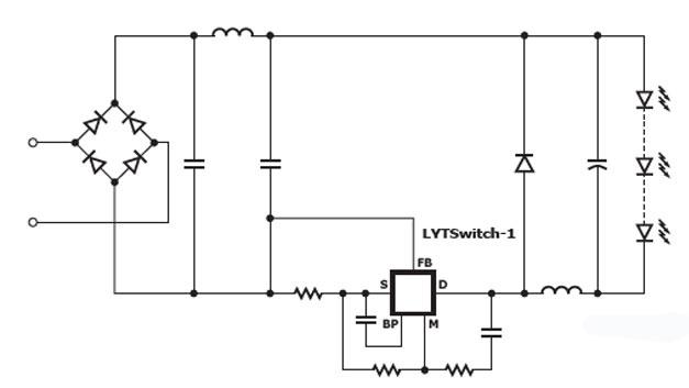 Die LED-Treiber ICs der Serie Lytswitch-1 können in zwei Arten als Abwärtswandler (Buck-Converter) genutzt werden. Die Beispielschaltung zeigt den IC als Low-Side Abwärtswandler, der Vorteile bei der elektromagnetischen Verträglichkeit mit sich bringt.