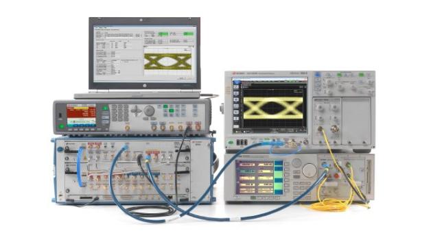 Die neue Stresstestlösung für optische 100GBASE-LR4-Transceiver, N4917B, ermöglicht Entwicklungs- und Validierungsingenieuren eine genaue und reproduzierbare Empfänger-Charakterisierung und versetzt sie in die Lage, ihre neuen 100 Gbit/s-Ethernet-Designs gründlich zu evaluieren. Die Lösung basiert auf dem Hochleistungs-J-BERT M8020A, zusammen mit dem 32 Gbit/s-BERT-Frontend M8062A, dem Breitband-Oszilloskop 86100D Infiniium DCA-X, dem Referenzsender 81490A und einem Abschwächer der Serie N77. Diese neue Konfiguration ermöglicht dem Anwender, die Fehlerzähler im integrierten Fehlerdetektor des BERT zu nutzen.