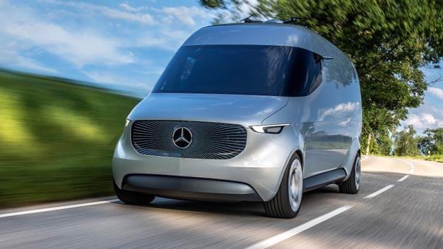 Die vollelektrische Transporter-Studie Vision Van verfügt über einen vollautomatisierten Laderaum, integrierte Drohnen zur autonomen Luftzustellung und eine moderne Joystick-Steuerung.