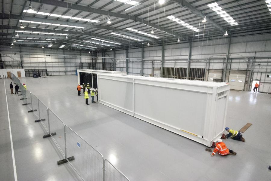 Das Rechenzentrum wird für den Transport vorbereitet.