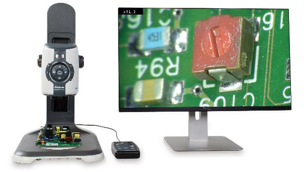 Vision Engineering (Halle A1, Stand 301) Der britische Mikroskop-Hersteller Vision Engineering stellt auf der electronica ein neues Digitalmikroskop vor und zeigt seine Messmikroskop-Serie »Swift-Duo« mit neuen Features. Mit dem Digitalmikroskop »EVO Cam« lassen sich Full-HD-Livebilder generieren, die eine makroskopische und mikroskopische Welt mit hervorragender Detailgenauigkeit zum Leben erwecken sollen. Vergrößerungsoptionen bis zu 300x und ein »intelligenter« Autofokuszoom sollen durchwegs eine ultrascharfe Bildqualität gewährleisten.