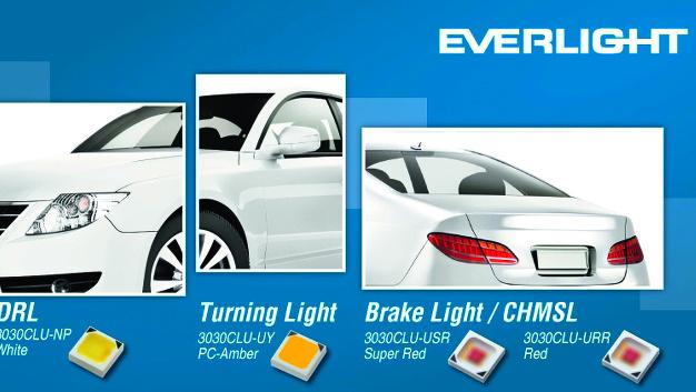 Everlight Electronics (Halle A3, Stand 307) Auf LEDs für Automotive-Außenanwendungen konzentriert Everlight seinen electronica-Auftritt. Vier AEC-Q101-qualifizierten, MSL1-konformen Hochleistungs-LEDs aus der Serie »3030CLU(AM)« sind in den Farbausführung Weiß, PC-Amber, Rot und Super-Rot sich bevorzugt für bestimmte unterschiedliche Außenanwendungen des Fahrzeugs eignet. Sie haben einen Betrachtungswinkel von 120° und werden in einem hochreflektierenden, 3,0 mm x 3,0 mm x 0,8 mm großen Keramikgehäuse angeboten. Die maximal zulässige Sperrschichttemperatur liegt bei +150 °C.