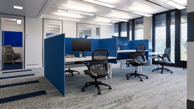 Cubicles statt Büros. Wer konzentriert telefonieren will, bucht einen Konferenzraum oder bleibt zuhause.