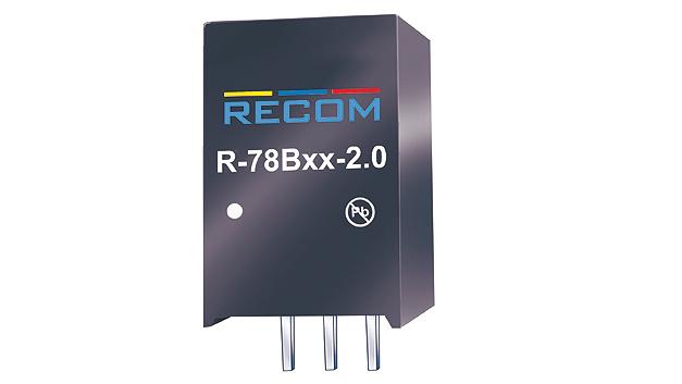 Bild 4. Bei den beliebten Schaltreglern im Standard-SIP3-Gehäuse konnte Recom die Leistungsdichte weiter steigern. Der neue R78B-2.0 liefert 2 A am Ausgang und erreicht einen Wirkungsgrad von 96,5 %.