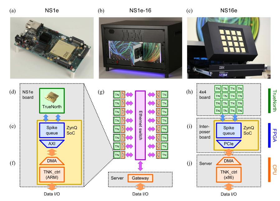 Die drei neurosynaptischen Hardwaresysteme NS1e, NS1e-16 und NS16e und ihre Struktur.