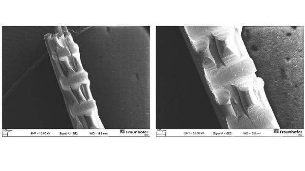 Elektronenmikroskopische Vergrößerung der verdichteten Kabellitzen, mit freundlicher Genehmigung vom Fraunhofer-Institut für Zuverlässigkeit und Mikrointegration IZM