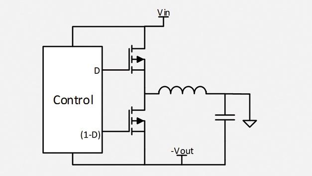 b) Synchron-Abwärtsregler mit negativer  Ausgangsspannung