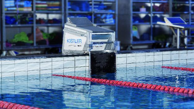 So sieht der Startblock des Kistler PAS-S aus. Sensoren messen die Kräfte beim Absprung und Wenden.