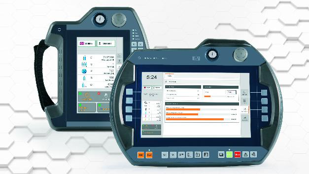 Ergonomisch, leicht und stoßfest sind die Handbediengeräte der Serie »Mobile Panel 7100« von B&R. Das Modell 7140 hat ein 7-Zoll-WSVGA-Display, während die Version 7150 ein 10,1-Zoll-WXGA-Display bietet. Beide nutzen B&Rs Visualisierungs-Software »mapp View«. Die Variante 7151 läuft mit einem Betriebssystem auf Windows-Basis und ist mit einem 10,1-Zoll-Display ausgestattet. Bedienen lassen sich die Geräte mit einer Kombination aus Funktionstasten und Touchscreen. Häufig benötigte Funktionen lassen sich auf fix programmierte Tasten legen.