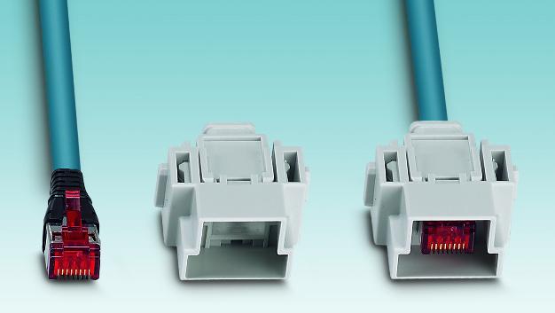 Die modulare Steckverbinder-Serie lässt sich auch mit fertig konfektionierten und geprüften RJ45-Patch-Leitungen bestücken. Diese werden in den Moduladapter eingelegt und anschließend in das Modul gesteckt.