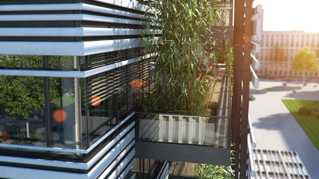 Die Balkone, die sich über die Fassaden ziehen, können den Mitarbeitern als erweiterte Kommunikationsflächen dienen.