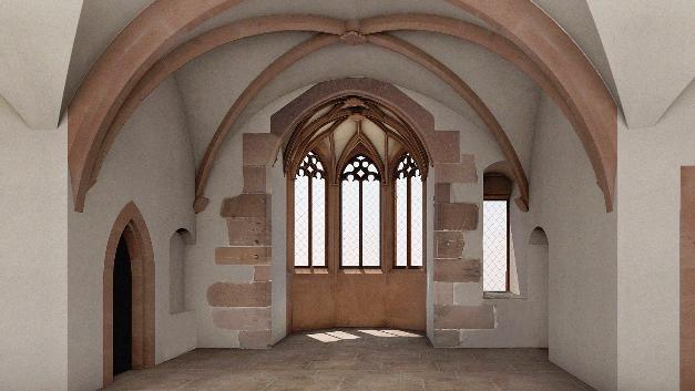 Ein Blick ins Innere: Kapellenerker im Bibliotheksbau.