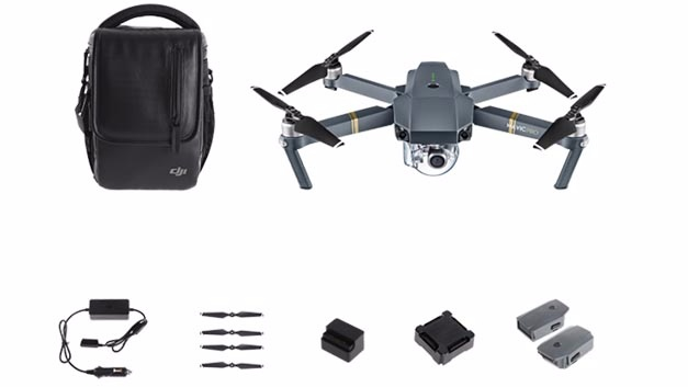 Die Mavic Pro von DJI ist eine Drohne für Hobbyisten. Mit der 12-Megapixel-Kamera , die auch 4K-Videos macht, wiegt sie 750 g und fliegt maximal 27 Minuten. Ganz billig ist dieses Hobby aber nicht: Mit den hier abgebildeten Zusatzteilen, die u.a. zwei Ersatzakkus enthalten, kostet sie 1500 Euro.
