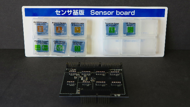 Arduino- und mbed-kompatibles Sensorboard mit acht aufsteckbaren Sensormodulen.