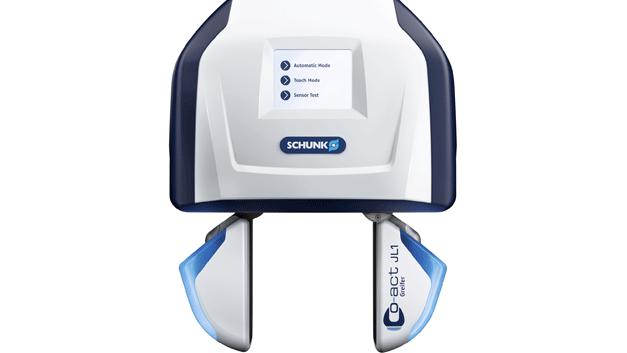 Unter dem Namen Co-act Greifer hat Schunk eine ganze Reihe von Greifern für kollaborative Roboter entwickelt. Der hier gezeigte JL1 vermeidet Kollisionen über Annährungsdetektion durch kapazitive Sensorik. Eingaben direkt am Greifer sind für den Maschinenführer über ein Touch-Display möglich, LED-Leuchten zeigen an, ob ein Werkstück identifiziert wurde.