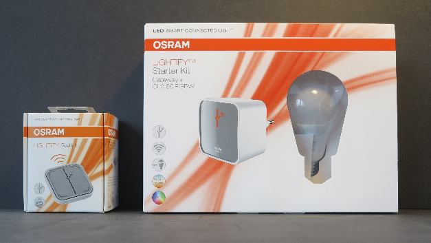 Osram Lightify Starter Kit und Schalter.