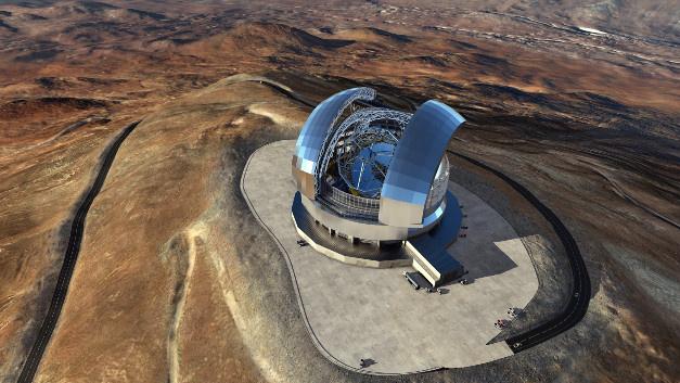 Das European Extremely Large Telescope (E-ELT) soll das größte Spiegelteleskop der Welt werden. 2024 soll es in Betrieb gehen. Diese künstlerische Darstellung des E-ELT beruht auf dem detaillierten Konstruktionsentwurf für das Teleskop.