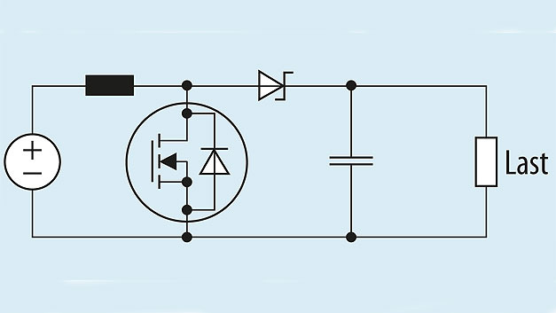 Bild 1. Der Wirkungsgrad eines Hochsetzstellers hängt von der Auswahl der Schottky-Diode ab.