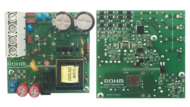 Bild 1. Ansicht der Ober- und Unterseite des 80mm × 80mm messenden AUX-Evaluierungs-Board für eine Hilfsstromversorgung: 1 – 1700-V-SiC-MOSFET SCT2H12NZ, 2 – Quasiresonanz-Controller BD7682FJ-LB.