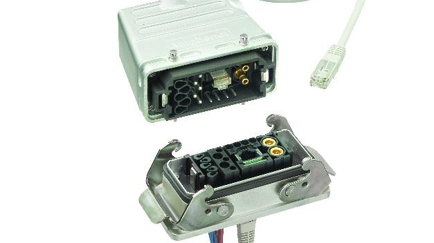 Amphenol bietet mit heavy|mate F und heavy|mate M die Komplettlösung für schwere Steckverbinder. heavy|mate M enthält  bis zu 7 Module in einem Rahmen, ferner gestanzte Crimpkontakte für kostengünstige Konfektionierung. Neben Signal- und Datenmodulen wie RJ45 gibt es auch vierpolige Powermodule bis 240 A. heavy|mate F wiederum enthält neben Signal- und Powermodulen bis 200 A auch Datenmodule wie das CAT7-fähige Gigabit-Modul für Datenraten bis 10 Gbit/soder Coax-Module. Komplettiert wird das Amphenol Portfolio durch alle verbreiteten Einsätze für Rechtecksteckverbinder und dem hilfreichen Zubehör.