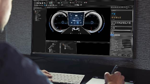 CGI Studio ist ein 2D-/3D-Software-Entwicklung-Tool von Socionext, mit dem HMIs für die Automobilindustrie realisiert werden können. Die offene Architektur des Tools ermöglicht eine einfache Integration und Automatisierung in den Entwicklungsprozess jedes Unternehmens. Müller: »Eine schnelle Start-up Zeit, ein kleiner Footprint und die immer strenger werdenden Automobil-Standards und Sicherheitsregularien von ASIL, MISRA und SPICE werden natürlich mit dem Tool abgedeckt.« CGI Studio kann auf fast alle aktuellen GPUs im Markt portiert werden, die neuesten APIs, einschließlich OpenGL ES 3.2 werden unterstützt. Müller weiter: »In modernen Fahrzeug-Architekturen ist die Notwendigkeit in einer verteilten und voll verbundenen Umgebung zu arbeiten, unerlässlich. In diesem Sinne bietet CGI Studio umfangreiche Unterstützung für die Kommunikation zwischen Domänen, Echtzeit-Betriebssystemen, Linux und eingebetteter Hypervisoren.«
