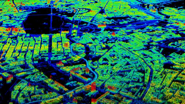 Mit Hilfe des Radarsatelliten TerraSAR-X und eines neuen Algorithmus erstellten Forscher der TU München 3D-Modelle - hier im Bild ein 3D-Modell von Berlin.
