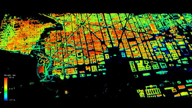 Das Planmuster von Washington. Um die schlechte Auflösung der dritten Dimension zu verbessern, wurden Compressive-Sensing-Methoden verwendet.