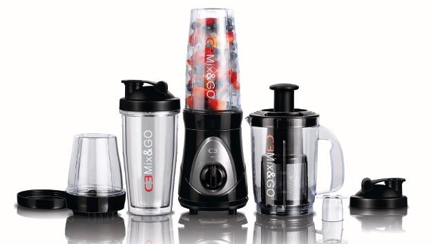 C3 30-10105 Mix und Go Pro, 4 in 1 Smoothiemaker, Standmixer, Entsafter und Mühle in Einem, 10-teiliges Set