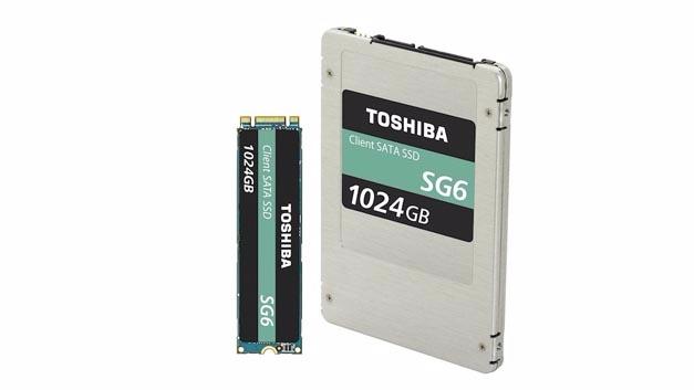Für Mainstream-PCs stellt Toshiba die SSD-Familie SG6 vor, mit Kapazitäten von 256 GB bis 1 TB. Drinnen steckt 3D-NAND mit 64 Ebenen.