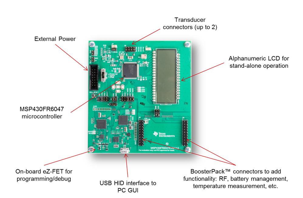 Bild 3. Zum MSP430FR6047 bietet Texas Instruments ein Testmodul (EVM430-FR6047) für Entwickler an, um auf dieser Basis einen Ultraschall-Durchflussmesser zu entwickeln. Das Testmodul bietet Steckverbinder für Erweiterungen, z.B. um eine Funkschnittstelle hinzuzufügen.