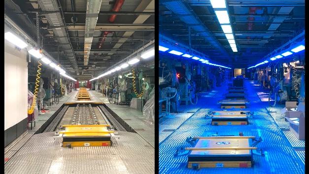 Zwei Lichtszenarien im Automobilwerk in München: kaltweißes Licht (links) und beispielhaft der aktivierende Blauanteil im kalt-weißen Licht (rechts).