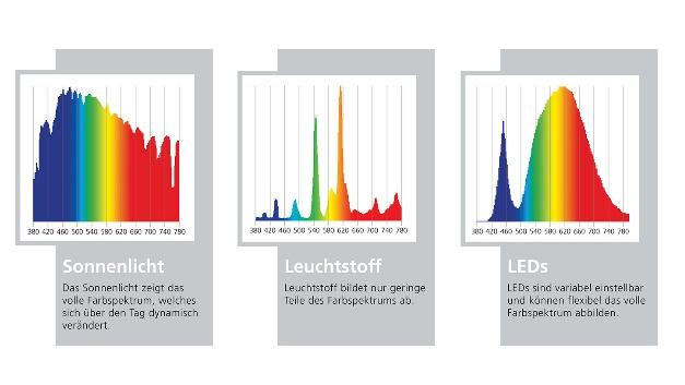 Farbspektren, die von Sonnenlicht (links), Leuchtstoff (Mitte) und LEDs (rechts) ausgehen. LEDs sind variabel einstellbar und können das volle Farbspektrum flexibel abbilden.
