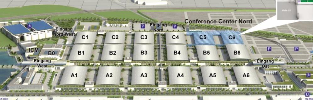 Gegenwärtig sind die Hallen C5 und C6 im Bau, die im Frühjahr 2018 in Betrieb gehen und auch in die electronica 2018 mit einbezogen werden.