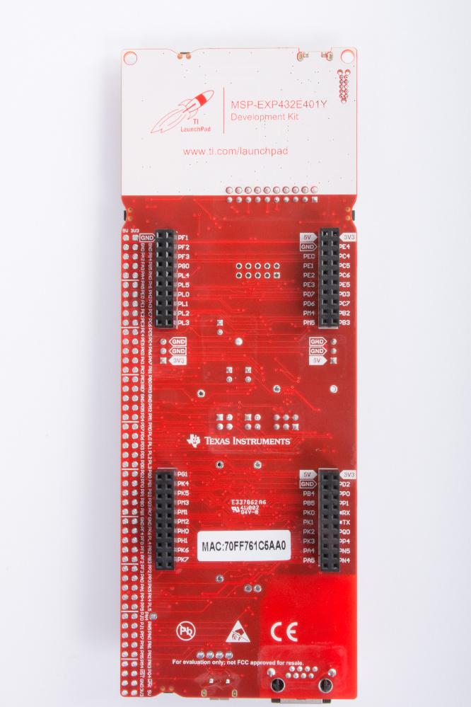 Entwicklungskit (Unterseite) auf der Basis des MSP432E4