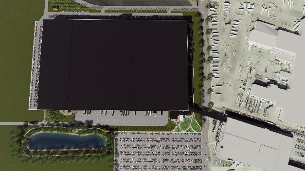 Blick von oben auf das 93.000 Quadratmeter große neue Logistikgebäude.