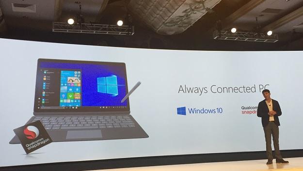 Terry Myerson, Executive Vice President bei Microsoft, stellte den Always Connected PC mit vollständigem Windows 10 auf dem Snapdragon-835-SoC vor.