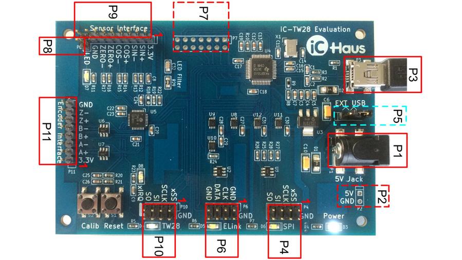 Foto des Evaluierungsmoduls für den Encoder-IC iC-TW28 mit den Anschlüssen.