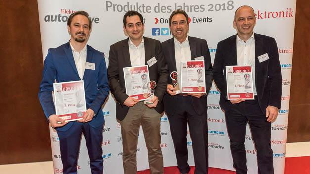 Die Gewinner der Rubrik Automatisierung: Synapticon, B&R, Beckhoff und Schunk erhielten die Auszeichnungen für die Elektronik-Produkte des Jahres 2018.