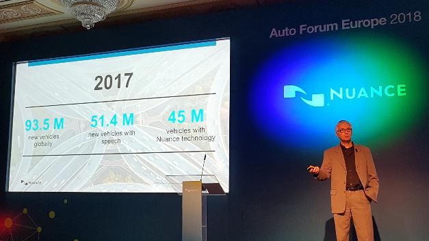 Arnd Weil, Senior VP und General Manager der Sparte Automotive bei Nuance: »2017 wurden weltweit 93,5 Mio. Fahrzeuge produziert, davon sind 51,4 Mio. mit Sprachfunktionen ausgestattet. Wiederum 45 Mio. davon basieren auf Nuance-Software.«