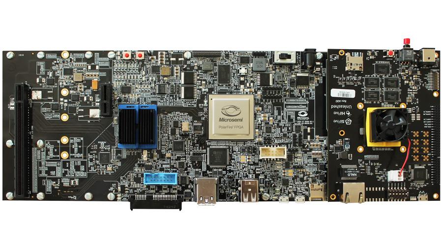 Linux-PC auf Basis des RISC-V-Prozessors. Mit dem Erweiterungsmodul HiFive Unleashed Expansion Board von Microsemi wird aus dem Entwicklungsmodul HiFive Unleashed von SiFive (rechts aufgesteckt) ein kompletter Linux-PC.