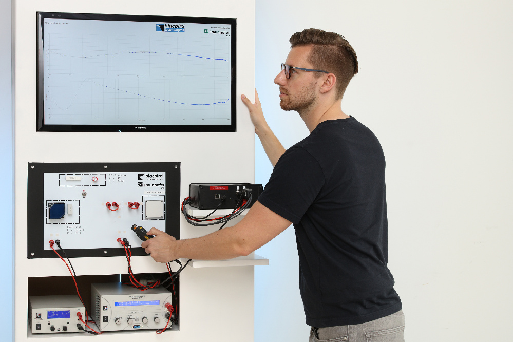 Demonstrator for the dynamic real-time analysis of power electronic components using novel measuring technology based on the injection of artificially generated noise signals, consisting of test network, measurement device, load and DC source.
