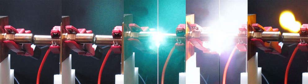 Picture series of an arc flash created at the Fraunhofer IISB arc fault test stand.