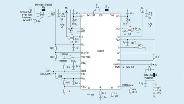 Bild 1. Schaltung eines 16-V-LED-Treiber mit Auf-/Abwärtswandler LT8391A mit 2MHz Schaltfrequenz. Er liefert am Ausgang 1,5A und erfüllt die EMV-Norm CISPR 25 Klasse 5 für den Automotive-Bereich.