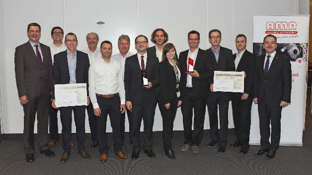 Entwickler und Jury (v.l.n.r): Prof. Schütze (Universität Saarland), P. Grob (IST AG), C. Peuker (Endress+Hauser), J. Holoubek, F. Klammsteiner, Dr. J. Polak (alle IST AG), Dr. P. Vrdoljak (Endress+Hauser), Dr. M. Schalles (TU Ilmenau), S. Mayer, Dr. R. Fix, Dr. H. Verhoeven, Dr. T. Block, (alle: Bosch Sensortec); P. Krause (First Sensor).