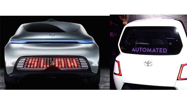 Bild 1. Automobilhersteller entwickeln Exterieur-Displays für autonome Fahrzeuge. Erste Varianten von Daimler (links) und Toyota (rechts) sind im Wesentlichen textbasiert.