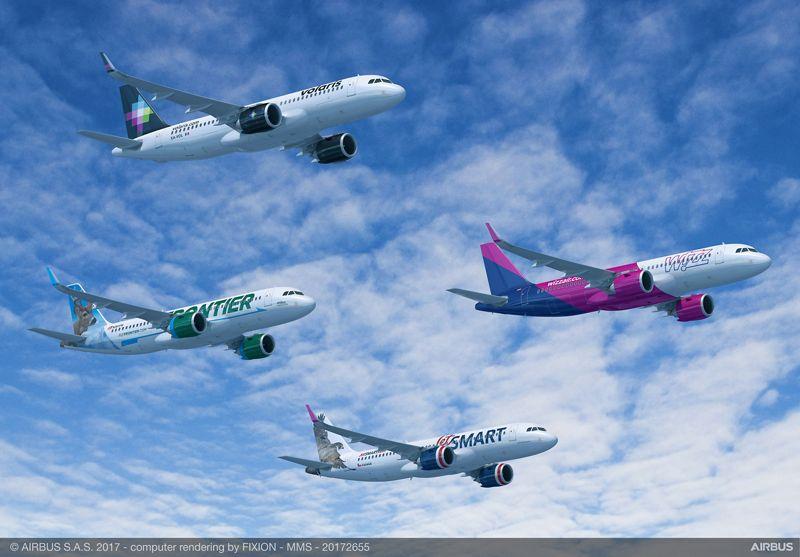 Die A320 neo-Modelle erkennt man an den aufrgenden Flügelspitzen, bei Airbus Sharklets genannt.
